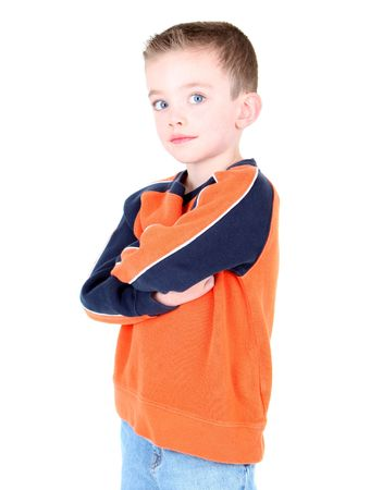 Cute boy with arms folded isolated on white  Stock Photo