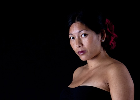 Bare shouldered asian woman portrait with black background photo