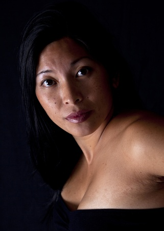 An Asian woman portrait on black background