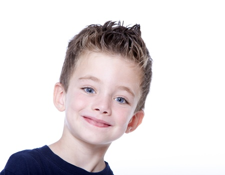 Young happy boy portrait on white background