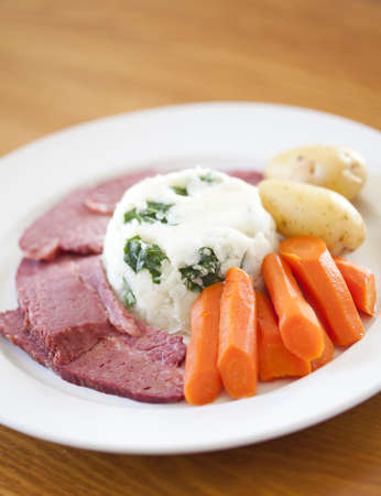 A Traditional Corned Beef Dinner on a table photo