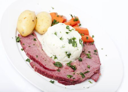 st patty day: Traditional Corned Beef Dinner isolated on white