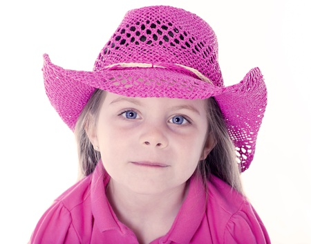 pink hat: Happy girl with pink cowboy hat Stock Photo