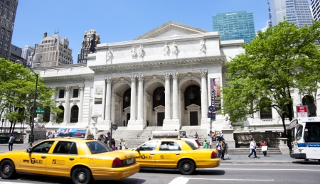 NEW YORK CITY, USA - MAY 6 2012: The New York City Public Library Main Branch MAY 6, 2012  in New York, NY. Completed in 1911, the flagship building is a National Historic Landmark.