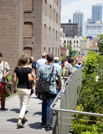 manhattans: NEW YORK CITY - JUN 3  High Line Park in NYC seen on June 3rd, 2012 The High Line is a public park built on an historic freight rail line elevated above the streets on Manhattans West Side   Editorial