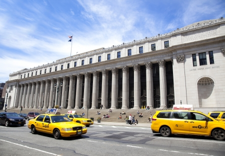 postmaster: NEW YORK CITY - JUNE 3  James A  Farley Post Office Building once held the distinction of being the only Post Office in New York City open to the public 24 hours a day, seven days a week Named after the 53rd Postmaster General, it is listed on the Nationa Editorial