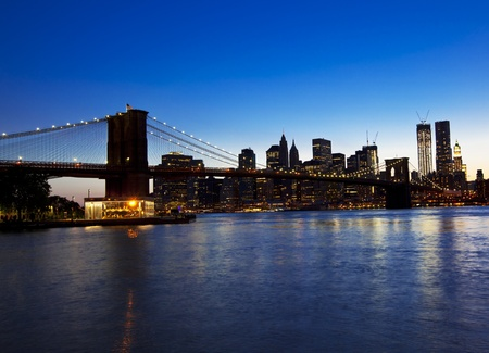Brooklyn bridge and skyline at night  Stock Photo - 15308143