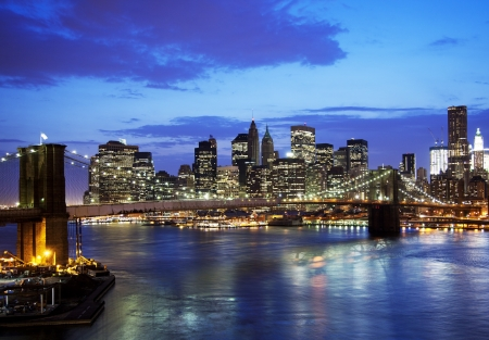 Brooklyn bridge and skyline at night  Stock Photo - 15308149