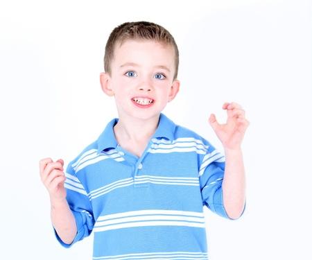 Little boy being silly in studio Фото со стока