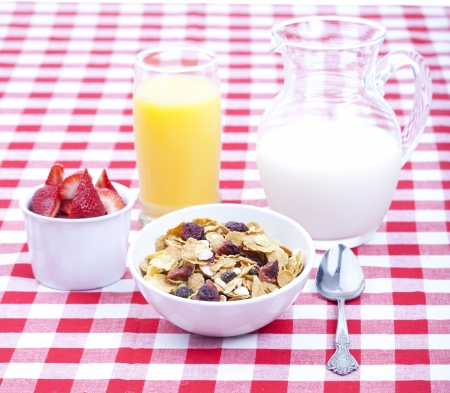 Breakfast of cereal, fruit, orange juice and milk on tablecloth Stock Photo - 15794109