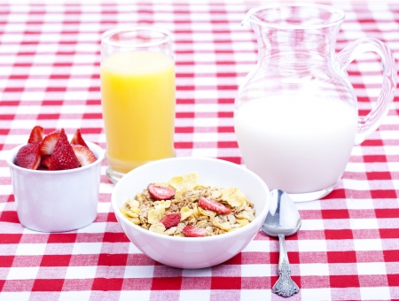 Breakfast of cereal, fruit, orange juice and milk on tablecloth photo
