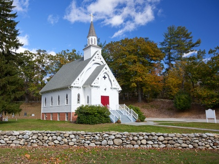 church building: New England white church during the Fall
