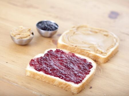 peanut butter and jelly sandwich: Peanut butter and jelly sandwich Stock Photo