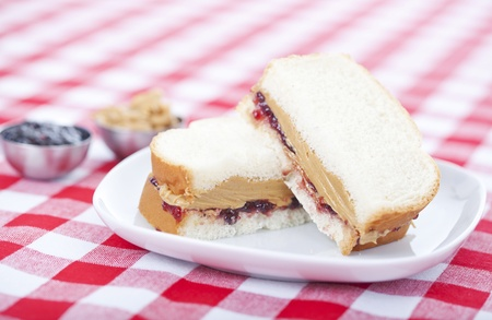 jam sandwich: Peanut butter and jelly sandwich Stock Photo