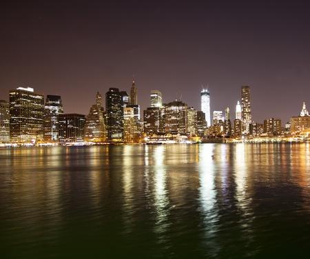 Downtown NYC skyline at night Stock Photo - 16187956