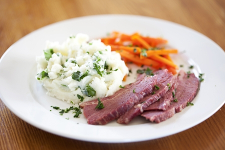 Traditional corned beef dinner