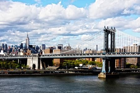 Manhattan Bridge and skyline on a cloudy day Stock Photo - 16187972