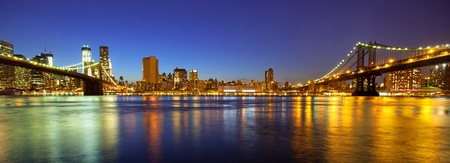 VIew of Manhattan and Brooklyn bridges and skyline at night Stock Photo - 19123468