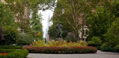 New York City, USA , August, 5, 2012 - Gramercy Park is a small 2 acre park located in the Gramercy section of New York City on August 5, 2012. It is a private park with key access for residents that pay an annual fee to use.