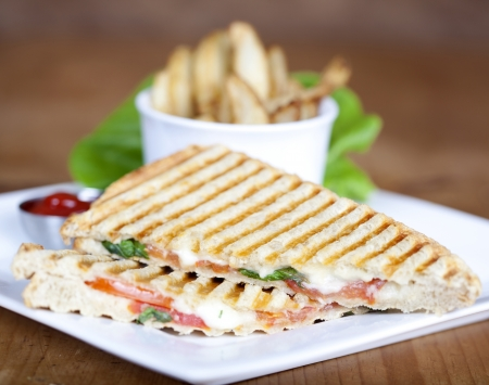 panini: Grilled caprese sandwich with fried potatoes and ketchup on a plate Stock Photo