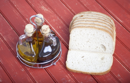 Sliced bread with oil and vinegar photo