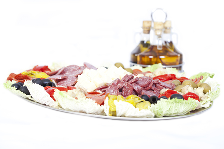 Isolated Antipasto with oils