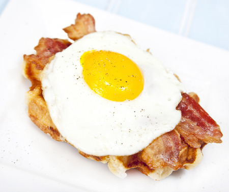 Belgian Waffle with bacon and fried egg