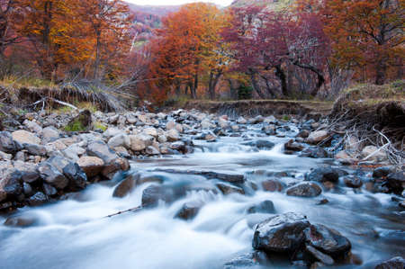 watershed: Photograph taken at slow shutter speeds to achieve mild effect on the water  This small river near San Martin de los Andes, Neuquen Province, Argentina  Stock Photo