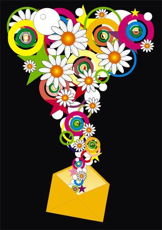 mail envelop van bloem Stock Illustratie