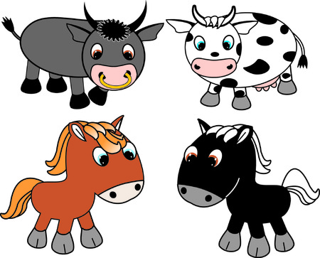 cartoon cow and horse