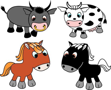 animal breeding: cartoon cow and horse