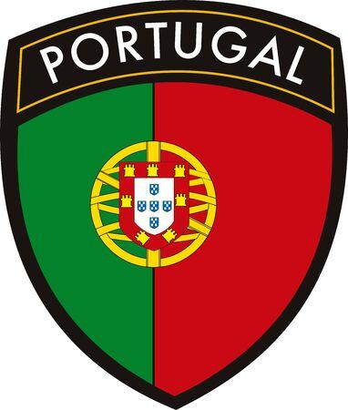 Vlag van Portugal vector patch Stock Illustratie