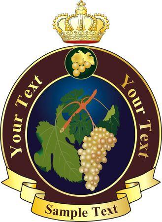 vector wijn etiket met kroon  Stock Illustratie