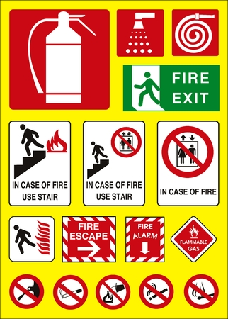 flammable warning: vector fire sign