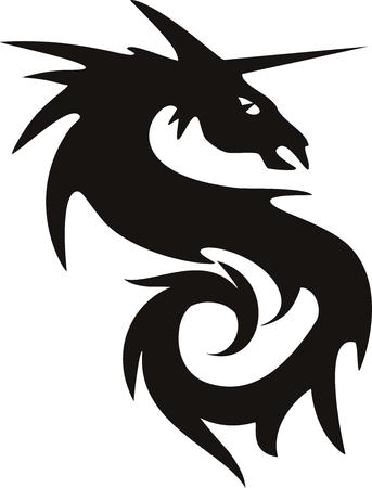 tatto: illustration of a vector dragon tatto