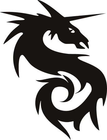 illustration of a vector dragon tatto