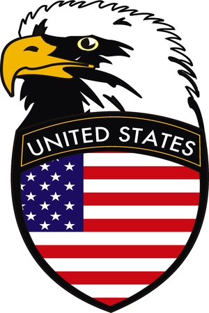 Vector illustration of Eagle with grest of American flag