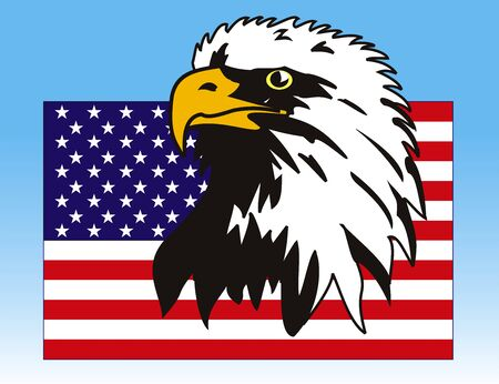 Vector illustration of eagle with American flag Vector