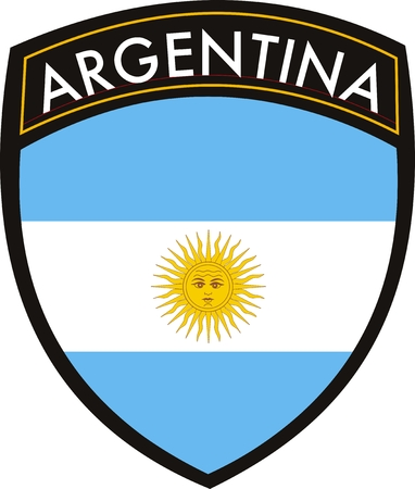 white patches: VECTOR ARGENTINA FLAG WITH CREST