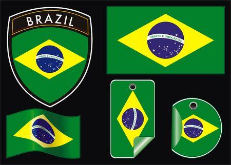 governmental: ejemplo de Brasil vector parche bandera y etiqueta Vectores