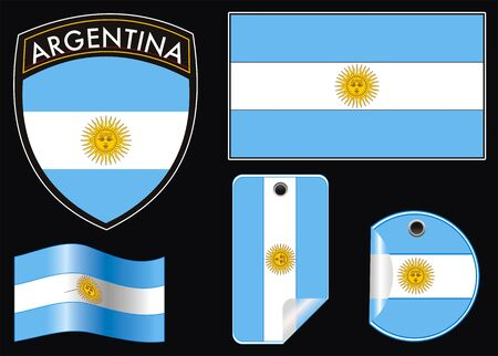 governmental: ilustraci�n de la Argentina vector parche bandera y etiqueta Vectores