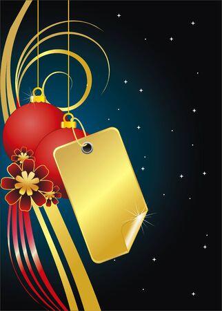 illustratie van een vector label en kerst ballen