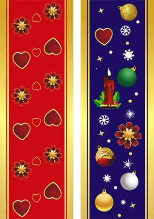 vector christmas banner with heart and banner Vector