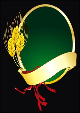 illustratie van een vector logo met graan en banner op zwart