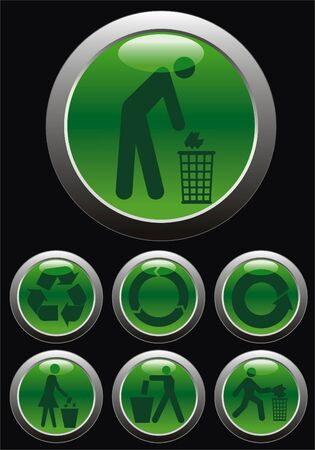 vector Glossy ecologic web button icon Vector