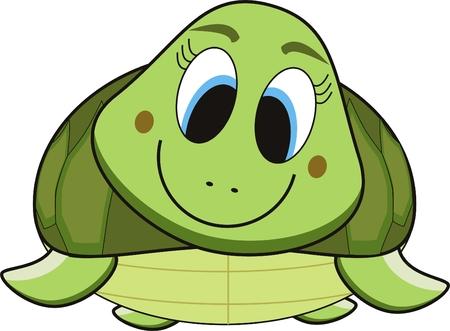 vector strip verhaal van een groene glimlach schild pad