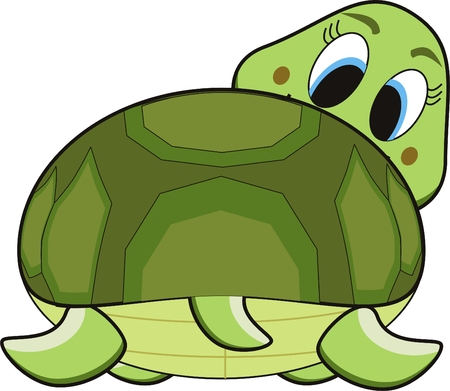 vector cartoon of a green smile turtle