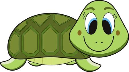 tortue de terre: bande dessin�e de vecteur d'une tortue verte