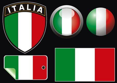 vector van de Italiaanse vlag met aqua stijl en crest