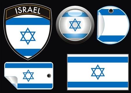 israelian vector vlag met aqua stijl en crest